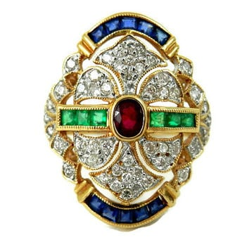 18K Pave Diamond Emerald Ruby and Sapphire Ring European Art Deco