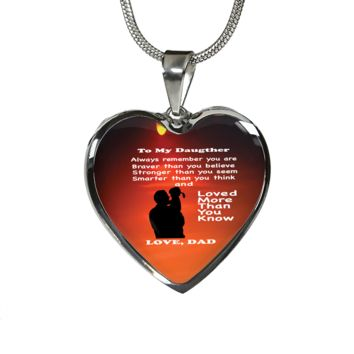 To Daughter From Dad Heart Shaped Necklace