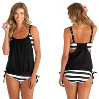 Womens Stripes Lined Up Double Up Tankini Top Swimwear - 4 colour