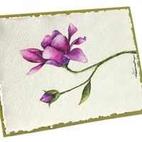 Watercolor, Handpainted Magnolia, Cotton Rag Paper