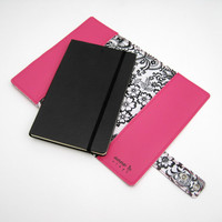 Vinyl Moleskine Cover with Racing Stripe, bright pink and raspberry pink vinyl / black toile oilcloth, fits LARGE CLASSIC NOTEBOOK