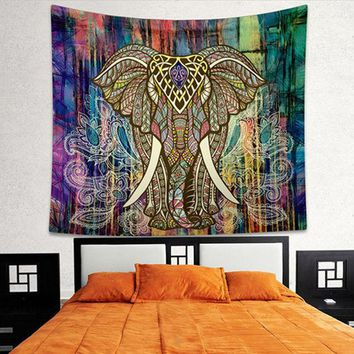 LMF9GW Indian Elephant Mandala Tapestry Bright Color Bohemia Hanging Printed Decorative Wall Tapestries Exotic Bedroom Living Rome T0.4