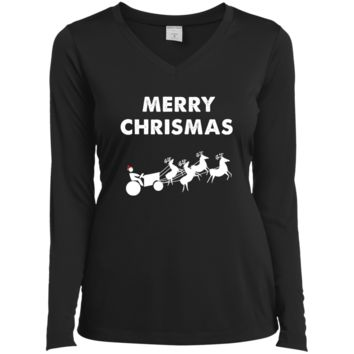 Funny Merry Christmas Gifts For Farmers | Tractor T-Shirt LST353LS Sport-Tek Ladies' LS Performance V-Neck T-Shirt
