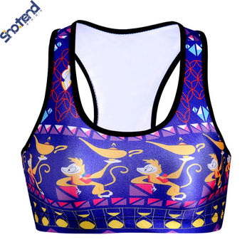 S.T Girl Sports Bras Cartoon Cute Monkey Printed Padded No rims Tops Bras For Woman Summer Style Sports Vest