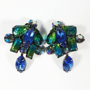 Kramer Clip Ons Blue Green Givre and AB Rhinestone Prong Set Clip On Earrings Designer Signed Mid Century Vintage 1950s 1960s
