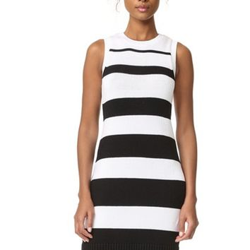 Women's Jack By BB Dakota Dri Black Striped Dress