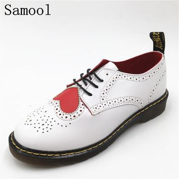 Tenis Feminino Fashion Spring Leather vintage oxford shoes Women carved Heart shoes Leisure Ladies Lace-up shoes women  Y1