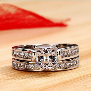 Clear 7 2 Carat Sleeve ring Princess Cut Fashion Style NSCD Synthetic SONA Diamond Engagement Wedding Ring Genuine White Gold Finish