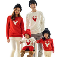 2016 Fashion Christmas Family Look Deer Mommy and Me Clothes Matching Family Clothing Sets Mother Daughter Father Baby T-shirt