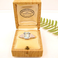 Vintage 1940's Aquamarine Diamond Ring, Stunning Art Deco Step Design in Platinum, Bold and Beautiful Emerald Cut, Charming Old Box