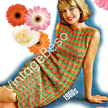 DIGITAL PATTERN • Dress Crochet Pattern • 1960s Vintage • Ripple • Zig Zag • Chevron • Retro • Boho • Vintage
