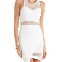 Mesh Cut-Out Asymmetrical Bodycon Dress by Charlotte Russe