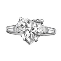 Heart Simulated Diamond - Diamond Veneer Style W/side Baguette Settings Sterling Silver Engagement/Wedding Ring 635R71352