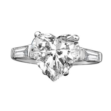 4 CT. (10x10mm) Intensely Radiant Brilliant Heart Diamond Veneer Cubic Zirconia with side Baguettes Settings Engagement/Wedding Set in Sterling Silver Ring. 635R71352