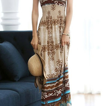 Brown Floral Pattern Crochet  V-Neck Dress