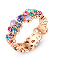 Colorful Austrian Crystal Ring white Gold Plated Gift Jewelry for Women Wedding Fine Jewelry