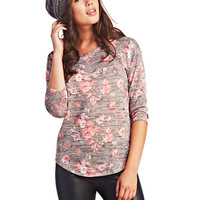 Garden Floral 3/4-Sleeve Sweater | Wet Seal