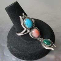 Turquoise, Angel Skin Coral, Malachite Vintage Sterling Silver SLAVE Dangle Ring, Size 9