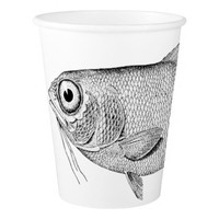 Strange vintage fish drawing paper cup