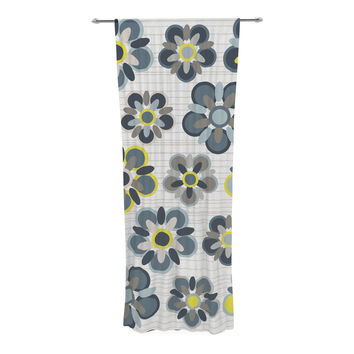 "Jolene Heckman ""Blue Folksy"" Yellow Gray Decorative Sheer Curtain"