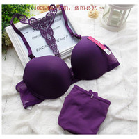 Fast free shipping hot sexy smooth an embroidered front closure bra set America back Y straps push up deep V Underwear for women