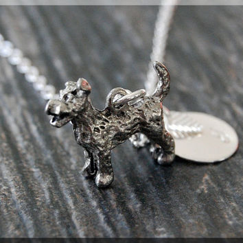 Silver Airedale Terrier Charm Necklace, Initial Charm Necklace, Personalized Necklace, Dog Lover Charm, Airedale Terrier Jewelry
