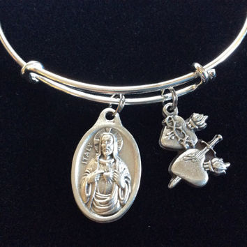 Sacred Heart of Jesus Immaculate Heart of Mary Expandable Bracelet Inspirational Jewelry Adjustable Bangle