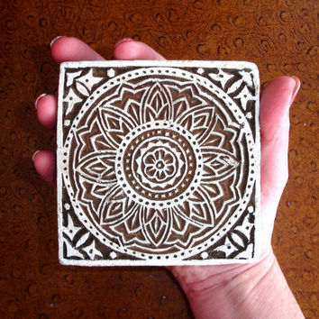 Hand Carved Wood Stamp: Large Indian Square Wooden Printing Block, Flower, Mendhi or Henna Tattoo Design, Ceramic Stamp, Pottery Stamp