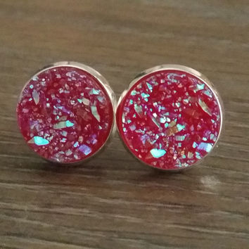 Druzy earrings- Deep red titanium drusy silver tone stud druzy earrings