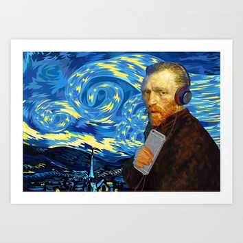 DJ Van Gogh Starry night iPhone, ipod, ipad, pillow case and tshirt Art Print by Three Second