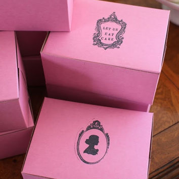 "Vintage Cameo & ""Let Us Eat Cake"" Pink Bakery/Pastry/Favor Boxes - Set of 6 - as featured on the Amy Atlas blog"
