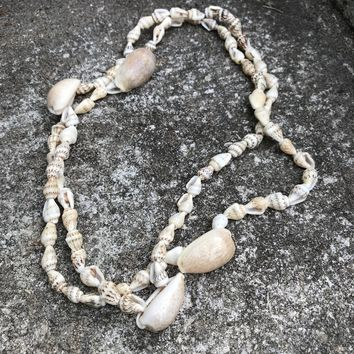 Artisan Crafted in Hawaii Natural Cowrie Shell Lariat Necklace