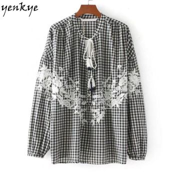Autumn Women Floral Embroidery Plaid Blouse Shirt Lace Up Stand Collar Lantern Sleeve Loose Blouses