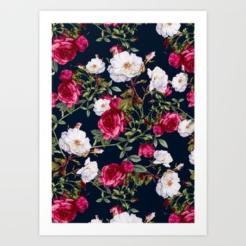 Vintage Roses on Darkblue Art Print by VS Fashion Studio