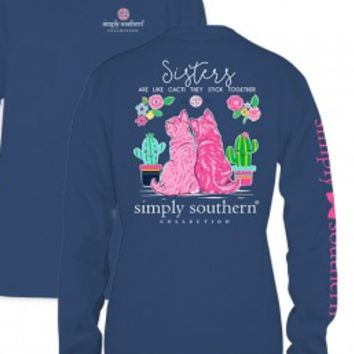 "Simply Southern ""Sisters Stick Together"" Long Sleeve Tee - Blue"