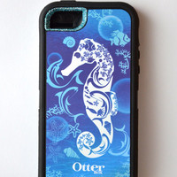 Otterbox Case Waves iPhone 5 Glitter Cute Sparkly Bling Defender Series Custom Case Blue/ Waves