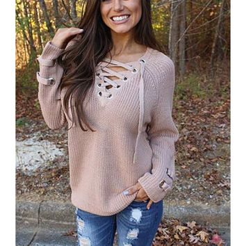 Self-Tying Strap Crisscross Sweater Tunic