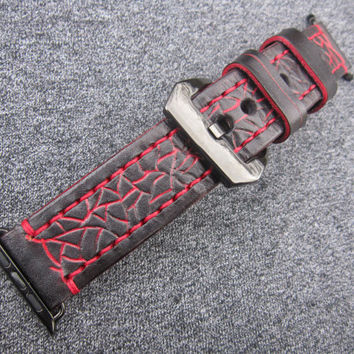 Black  and Red Apple watch strap, watch strap, leather watch strap, apple strap 42mm, leather strap for apple watch