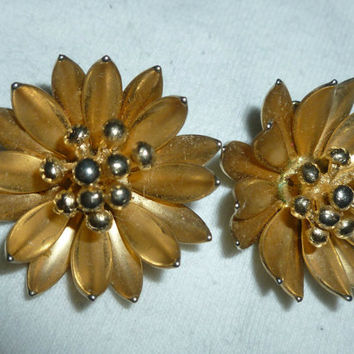 CORO Clipon Earrings Flower Burst Vintage Estate Signed Costume Jewelry Designer Excellent Old