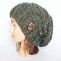 Army green tweed slouch hat women - beanies hat - Slouch Beanie - Large hat - chunky hat - Chunky Knit Winter Fall Accessories , Slouchy hat