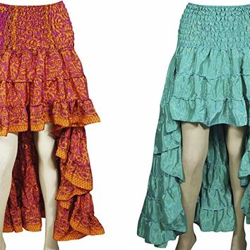 Mogul Interior 2pc Daisy Womens Skirt Printed Recycled Sari Flared Tiered Ruffle Bohemian Hi Low Skirts S/M