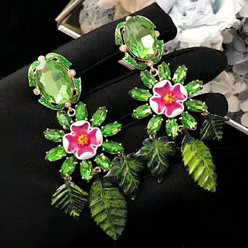 Dolce & Gabbana Fashion New Floral Leaf Diamond High Quality Long Earring Green