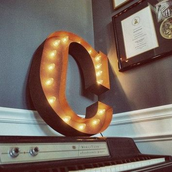 "24"" Letter C Lighted Vintage Marquee Letters (Rustic)"