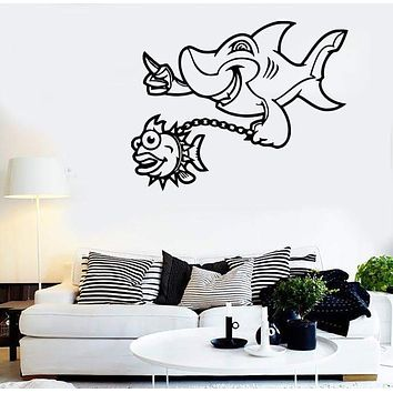 Wall Stickers Vinyl Decal Shark Predator Marine Positive Funny Bathroom Unique Gift (ig780)