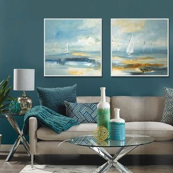 Modern abstract landscape painting canvas print wall art home living room decoration Impressionist Ocean Sailing Painting blue