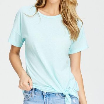 Mint Short Sleeve Top With Side Tie