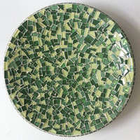 Mosaic Bowl Centerpiece Greens by GreenStreetMosaics on Etsy