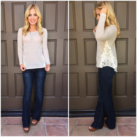 Heaven Knit Crochet Sweater Top - OATMEAL
