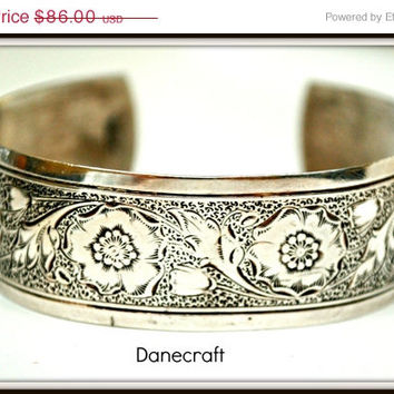 Sterling Silver Danecraft Floral Cuff Bangle Bracelet