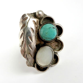Navajo Turquoise MOP Feather Ring, Vintage Native American Ring, Sterling Silver Ring Size 6